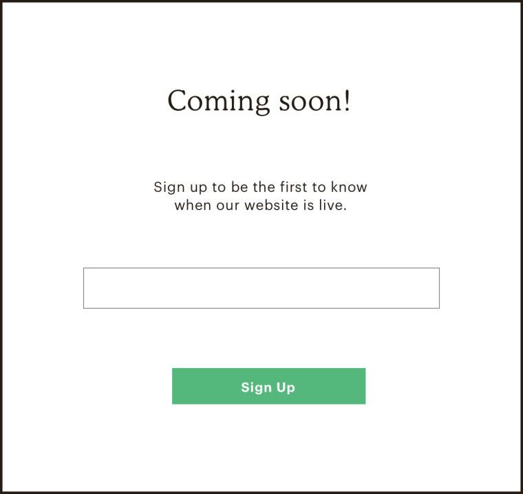 """A still image of a 'coming soon' page for a website that hasn't been published yet that includes an email signup form and the text, """"Coming soon! Sign up to be the first to know when our website is live."""""""