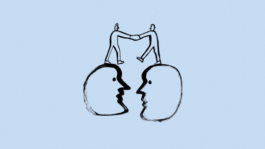 A drawing of two people shaking hands while standing on a pair of giant heads.