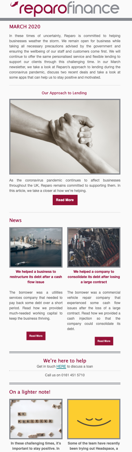 Image of a financial newsletter