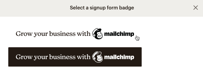sélection du formulaire d'inscription pour le badge de parrainage