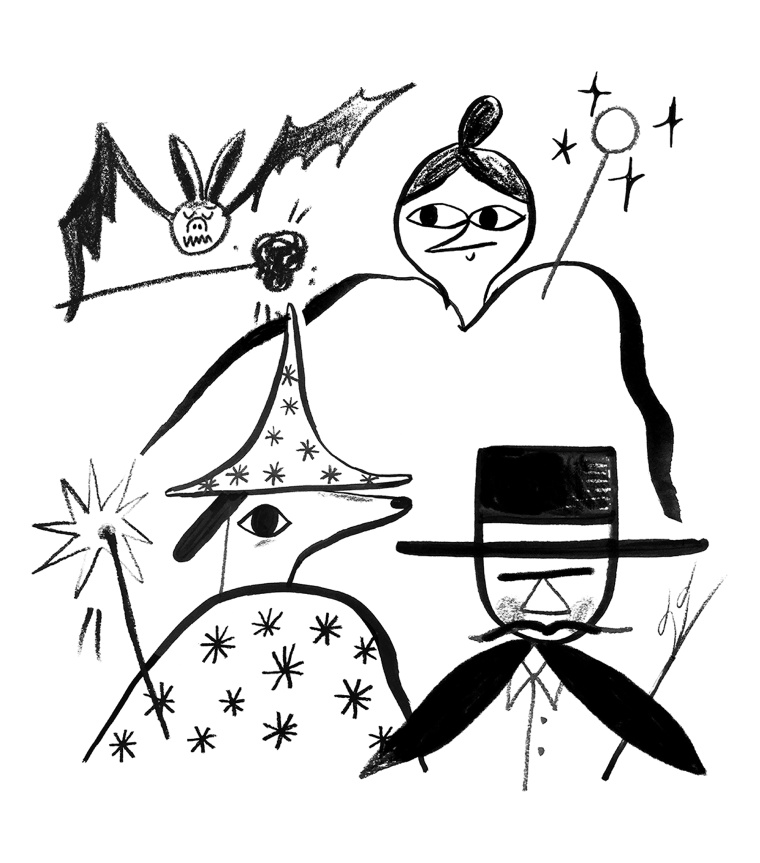 Illustration of a bat, a wizard, a magician, and a witch