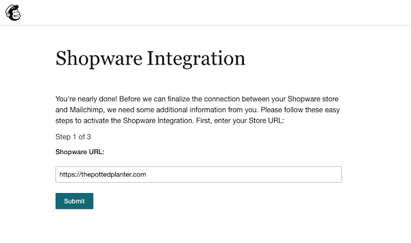 Enter Shopware Store URL - MC4Shopware