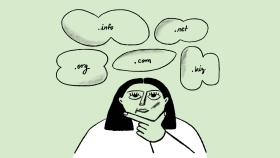 "A woman thinking with thought bubbles that say "".info"", "".net"", "".org"", "".com"", and "".biz"""