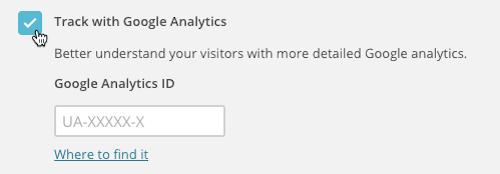 Haz clic en la casilla junto a Track with Google Analytics.