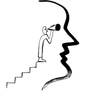 Illustration of person climbing stairs to use a telescope.