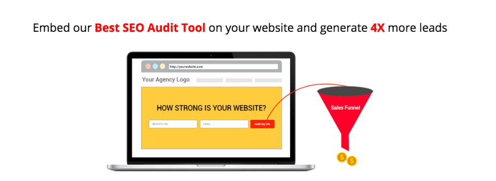 Image of laptop with text Embed our best seo audit tool on your website and generate 4x more leads