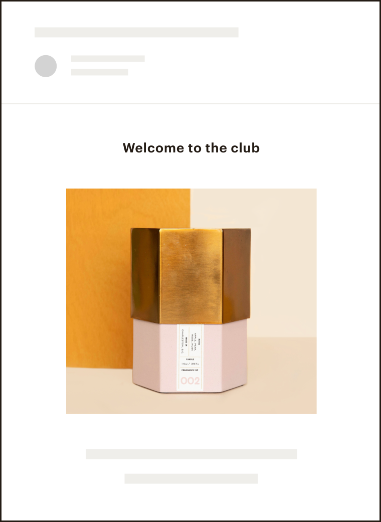 "A Mailchimp user email that has been sent to users that says ""Welcome to the club"""
