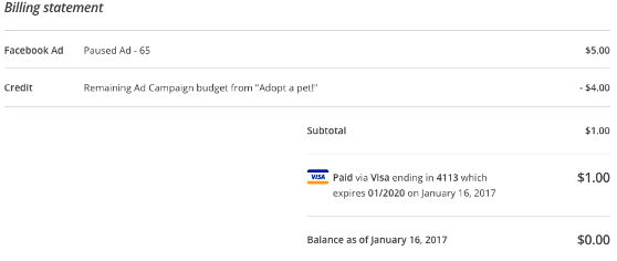 Image: a screenshot of a billing receipt in mailchimp