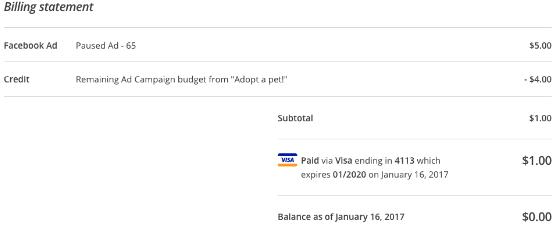 Image: a screenshot of a billing receipt in mailchimp