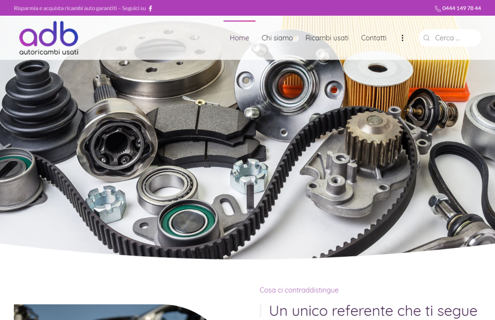 Image of abd website with images of gears