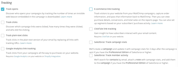 All the tracking options shown on the Setup step of the Campaign Builder.