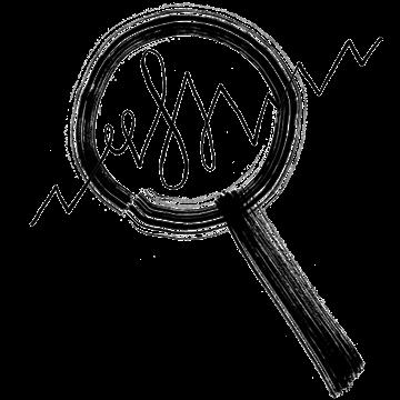 Magnifying glass analyzing statistics.