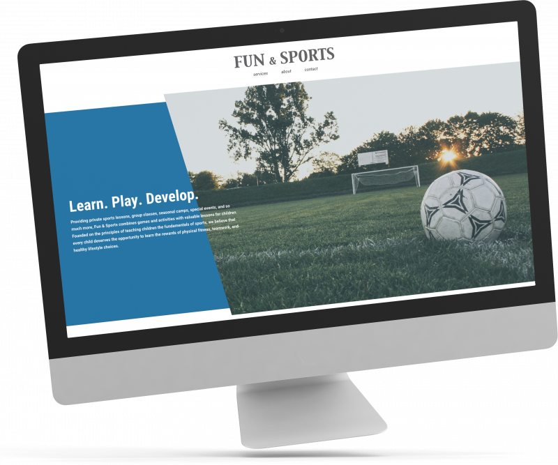 """Image of a computer with a soccer ball that says """"Learn. Play. Develop. Fun and sports"""""""