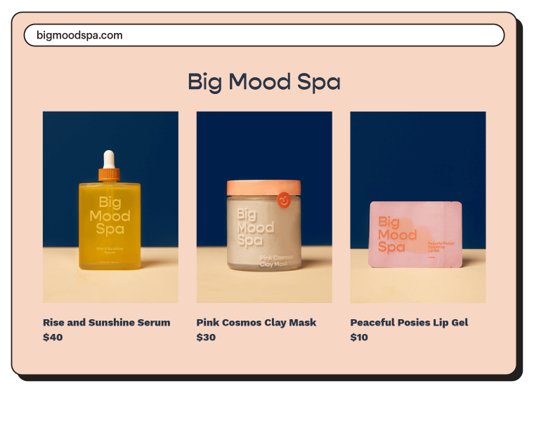 Example of Big Mood Spa's homepage, featuring 3 items.