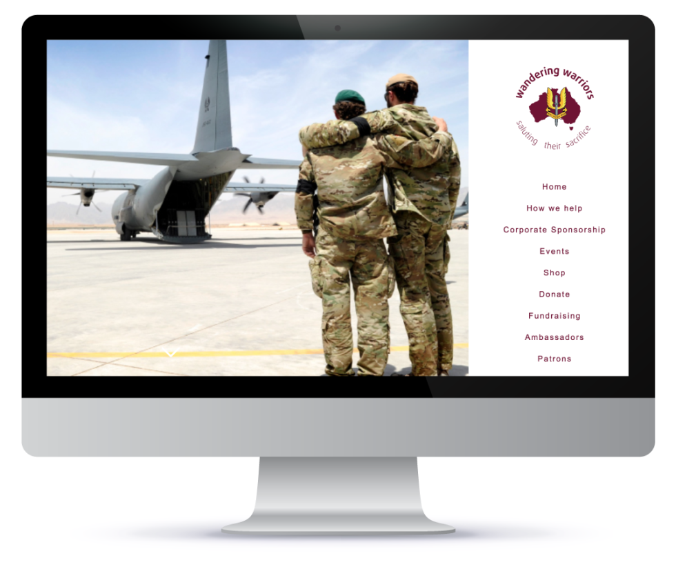Mac desktop showing example website for military service members. Includes image of soldiers and a navigation bar on the right.