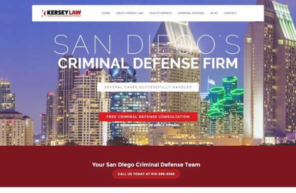 Website homepage for a law firm. Background image of San Diego city skyline at dusk. Overlaying image is text ranging in size including name of company and links to contact. At the top of page there is a logo and other links within a white background text box. At the bottom of the page under the image of the skyline is more contact information within a red background box.