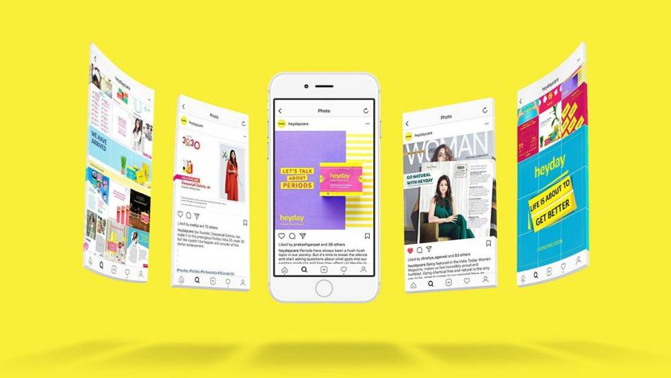 Image of ads with a yellow background and a iphone in the middle