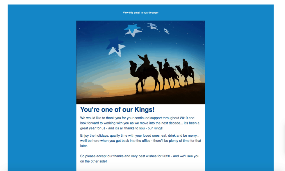 Screenshot of email campaign