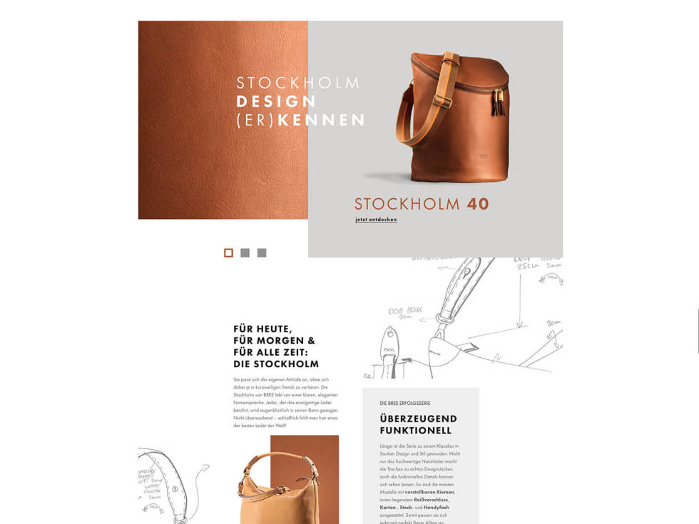 Template design for a leather bag company. Photos of products layered across page with accompanying descriptions in separate text boxes. Design sketch-up illustrations appear twice on page.
