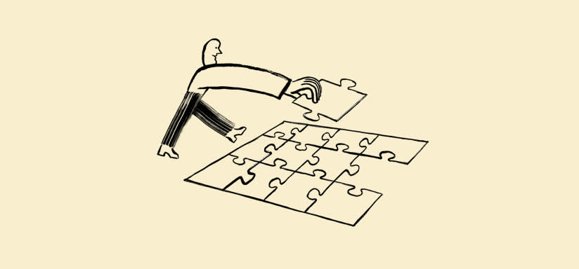 Illustration of person finishing a puzzle.