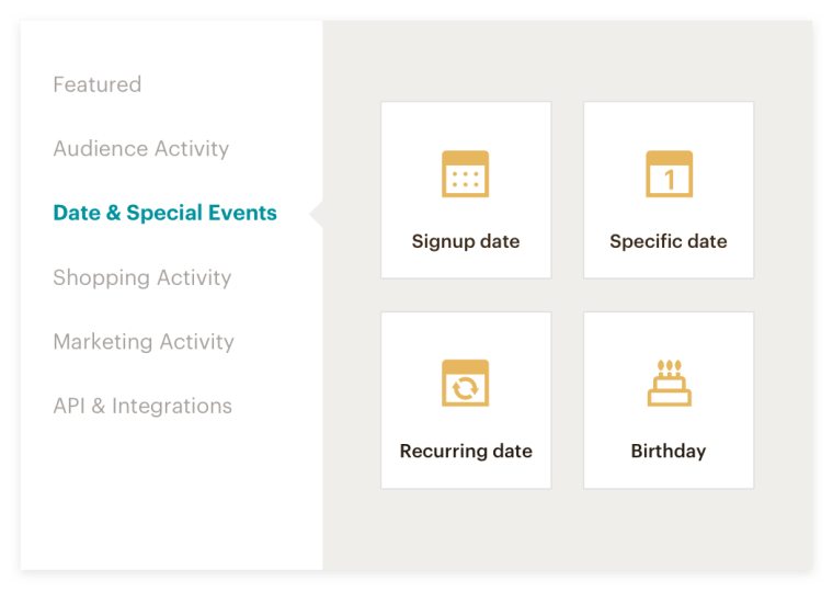 Select a starting point such as a Date or Special Event