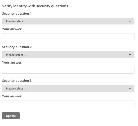 Security questions fields