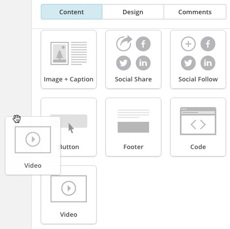 Cursor clicks and drags a Video content block into the layout.