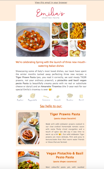 Image of Emilias newsletter with images of food