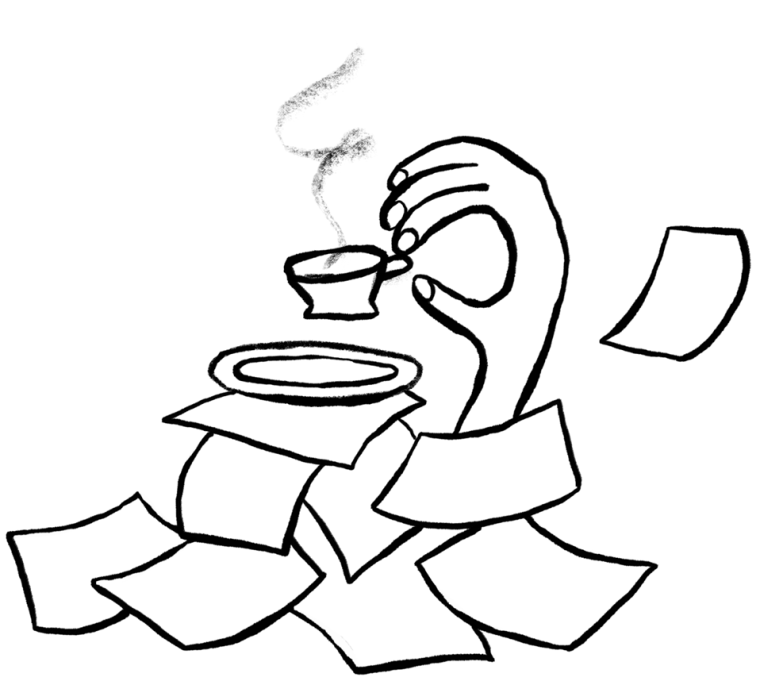 Illustration of a hand holding a cup of coffee with papers scattered everywhere