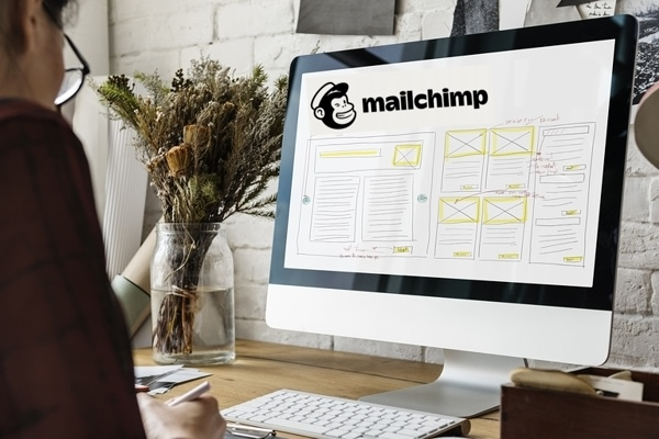 Image of computer monitor with the text Mailchimp