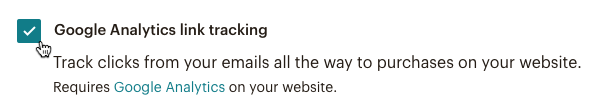 Click checkbox to add Google Analytics tracking to your automation.