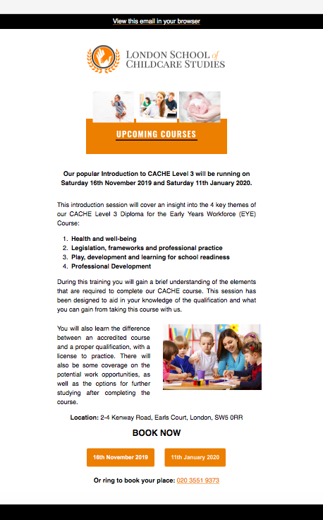 Newsletter for London School of Childcare Studies