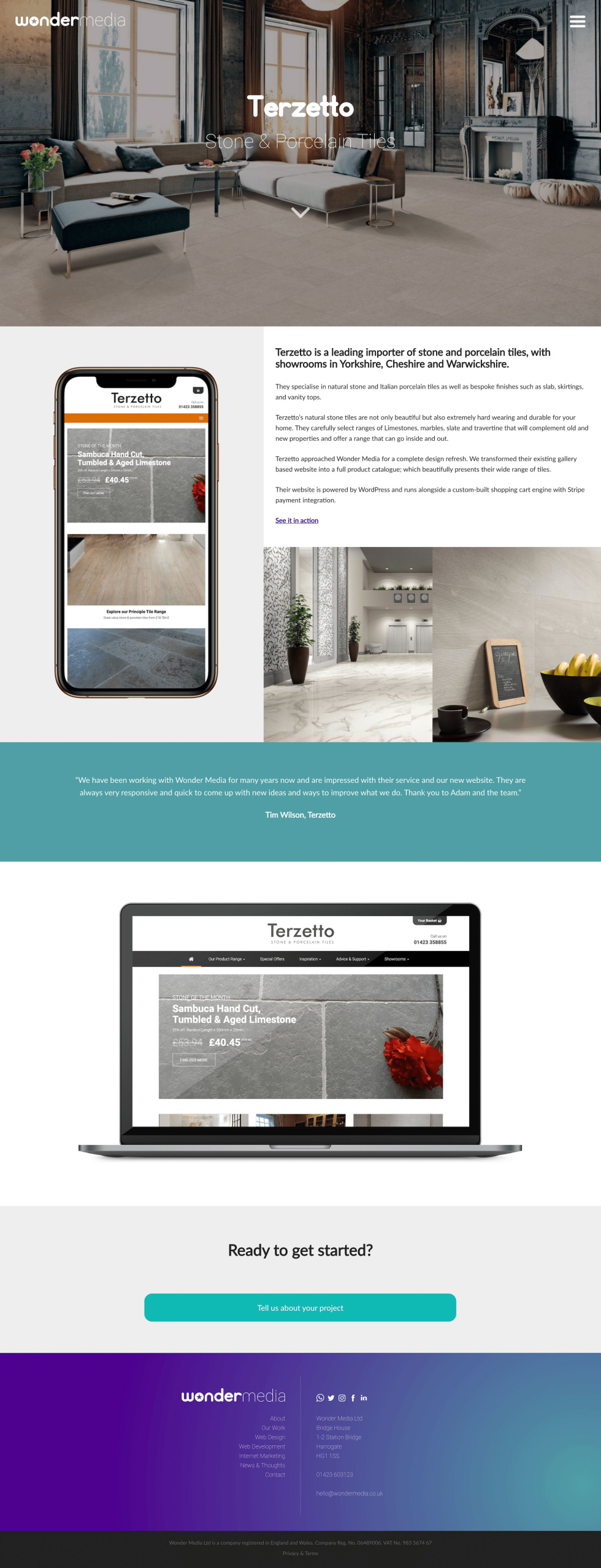 Email template. Page can be split into six parts. At the top, image of modern living room slightly faded. White logo at the center of the image. Below, iPhone screen displays different photos of tile, the product that is being sold. To the right of the iPhone, a small paragraph with black lowercase text against a white background. Below the text, two photos of showing off tiles within an office space and in a kitchen. Below the iPhone and text with accompanying images, another image of Apple MacBook to desktop version of website homepage. Below this laptop, green contact button along with more information and branding.