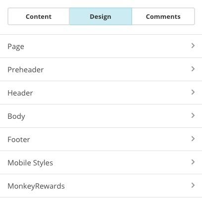 Screenshot of Design sections.