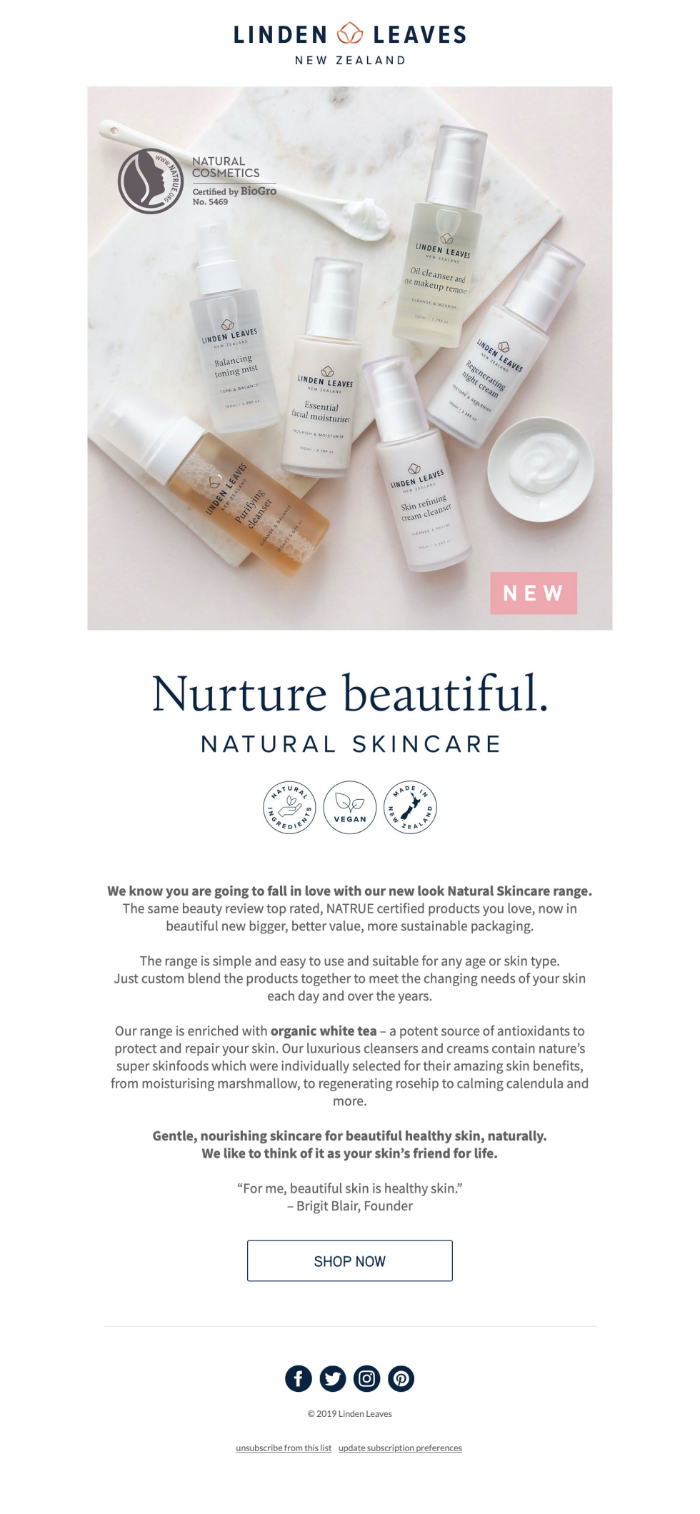 Image of Linden Leaves newsletter with the image of skin care products and the text nurture beautiful.