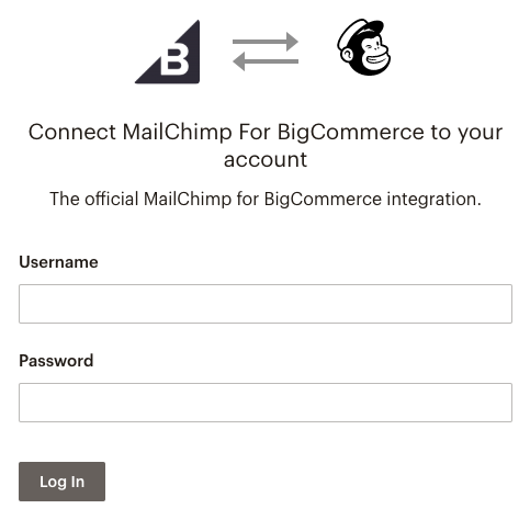 screenshot of Mailchimp's pop-up login window.