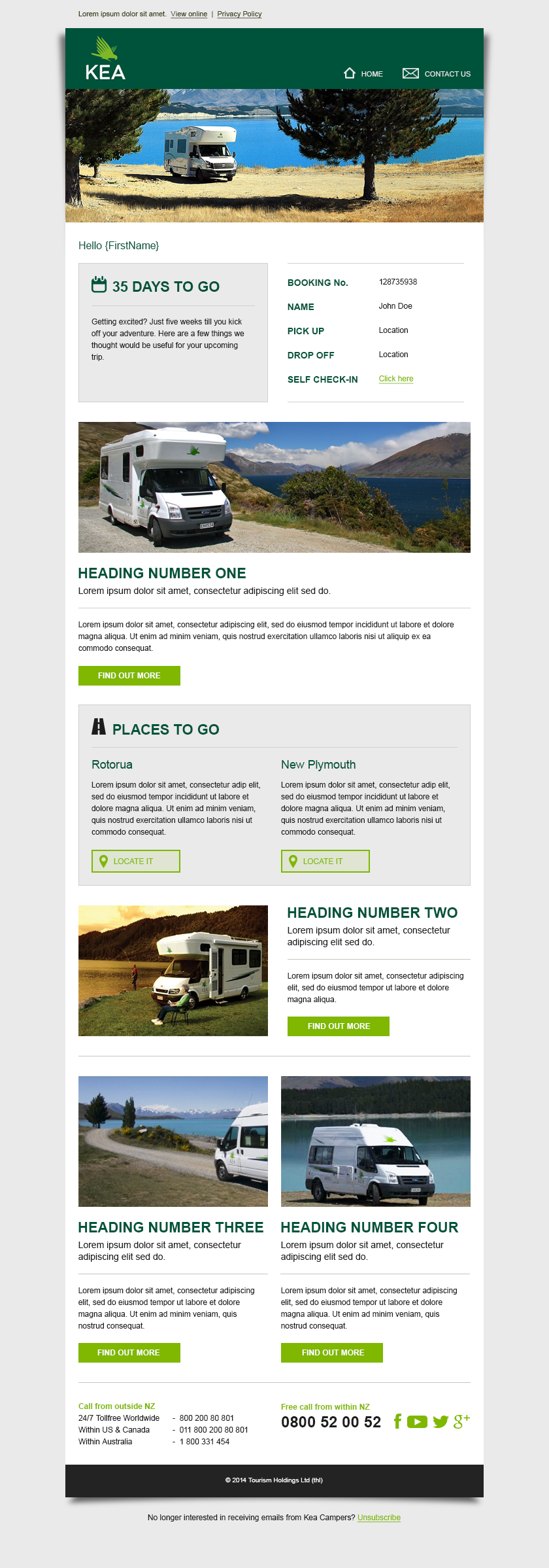 An email template design for Kea