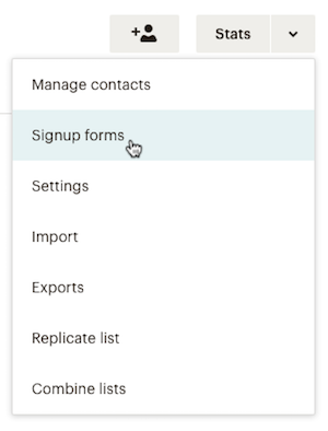 Choose Signup forms from list menu