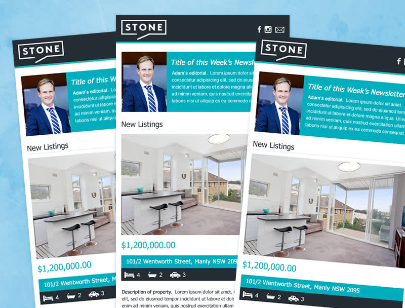 Three identical HTML Templates laid out for real estate company. Includes logo, portrait of real estate agent with descriptive text and photos.