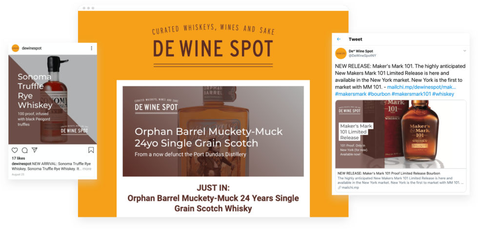 De Wine Spot's website and social ads