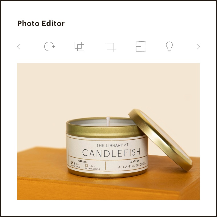 An image of the photo editor with tools to crop, resize, straighten your image, and more.
