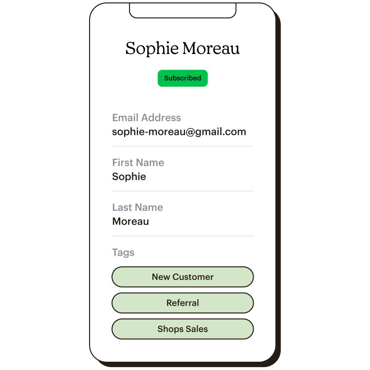 Mobile view of Sophie Moreau's profile with contact information and tags.
