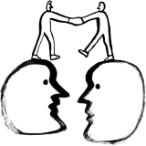 Illustration of two people shaking hands on top of two heads