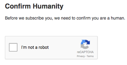 Screenshot of the checkbox recaptcha subscribers will see on signup forms.