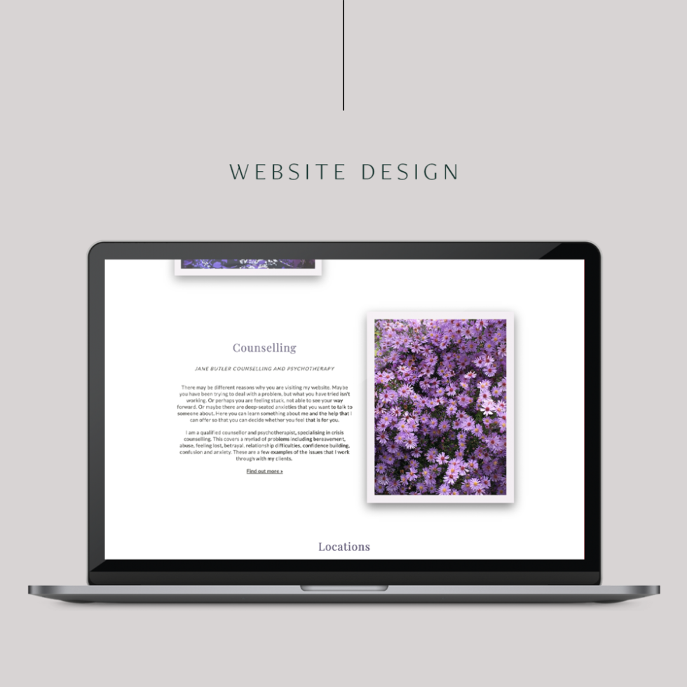 Image of Apple laptop open to website that has blank white background page. On the right side is an image of purple flowers in a rectangular box. On the left side is text that has been centered.