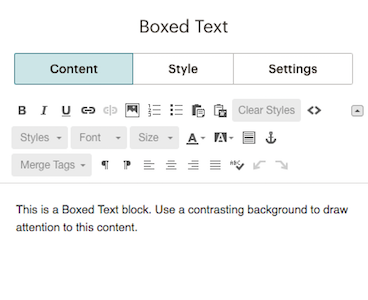 Insert content into the Content tab of the Boxed Text block