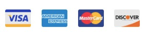 We accept Visa, American Express, Master Card, and Discover