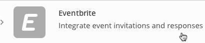 Integrations list showing Eventbrite row