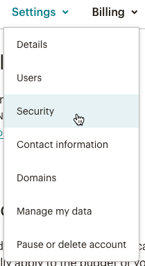 Account setting panel expanded with cursor clicking Account security.