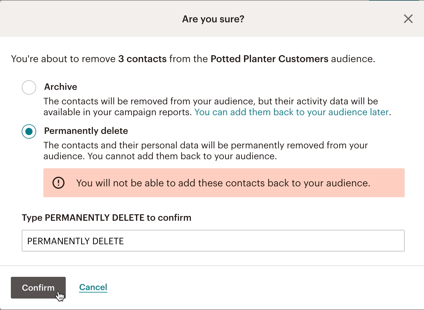 Suppression des contacts-Permanently delete (Supprimer définitivement)-confirm (confirmer)